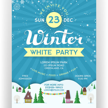 Poster for winter white party. Invitation flyer for ski resort.
