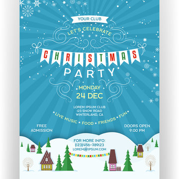Poster for Christmas party. Invitation flyer with colorful houses between snow-covered hills.