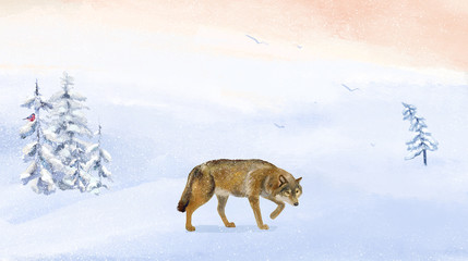 Winter landscape with wolf. Winter forest. Digital drawing