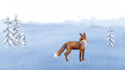 Winter landscape with fox. Winter forest. Digital drawing