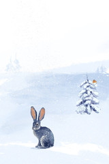 Winter landscape with hare. Winter forest. Digital drawing