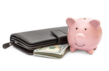Piggy bank with purse and money on white.