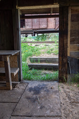 old wooden countryside house architecture details