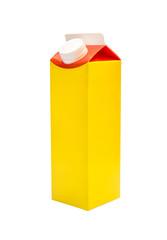 Carton box of milk isolated on white.