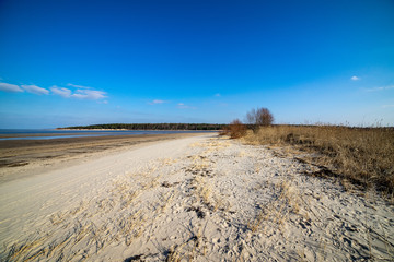 empty sea beach with sand dunes