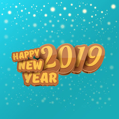 2019 Happy new year creative design background or greeting card with colorful numbers and greeting text. Happy new year label or icon isolated on azure background with falling snow and lights