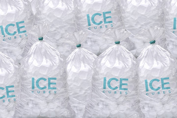 Pile of plastic ice cubes bags
