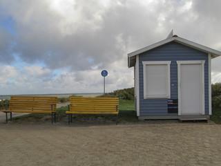 Heiligenhafen, Herbst, Strand, Strandbude, Strandkorbverleih, Saisonende,