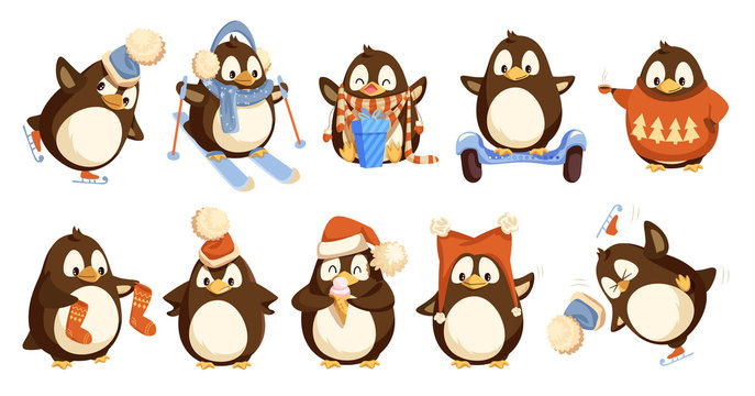 Penguins Wearing Winter Warm Clothes Set Vector