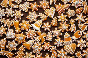Christmas gingerbread background on wooden table