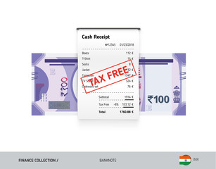 Receipt with 100 Indian Rupee Banknote. Flat style sales printed shopping paper bill with red tax free stamp. Shopping and sales concept.