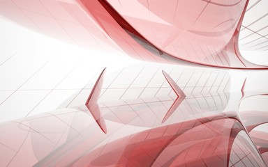 abstract architectural interior with red smooth glass sculpture. 3D illustration and rendering