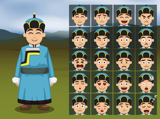 Mongolian Boy Cartoon Emotion faces Vector Illustration