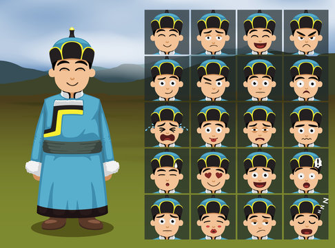 Mongolian Boy Cartoon Emotion faces Vector Illustration