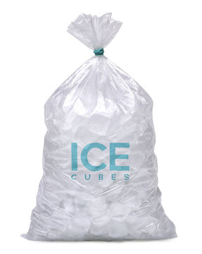 Ice cubes in plastic bag, bagged ice or packaged ice isolated on white background including clipping path.