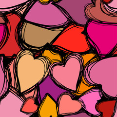 Doodle hearts seamless background. Retro holiday backdrop for Valentine Day.