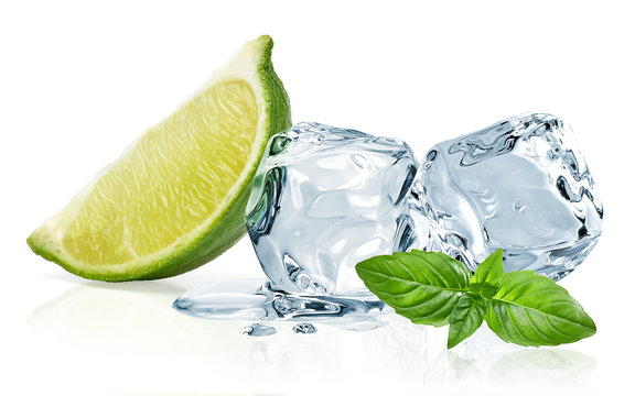 Ice cubes with lime / ice cubes, lime and basil leaves isolated on white background