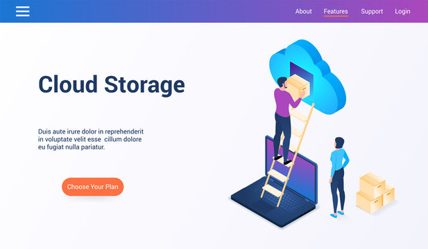 Isometric design concept on cloud storage theme. Vector illustration mock-up for website and mobile website. Landing page template