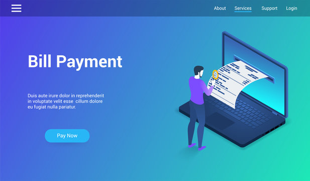 Isometric landing page template for bill payment. Vector illustration mock-up for website and mobile website