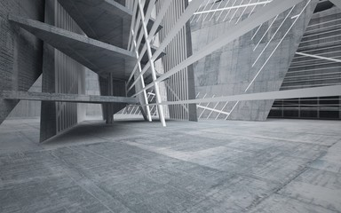 Abstract interior of concrete. Architectural background. 3D illustration and rendering