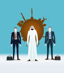 Arabic businessmen in front of oil industry emblem with his team. Concept of success, leadership and victory in business