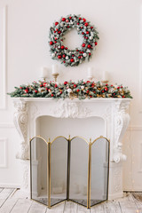 beautiful Christmas decorations and gifts under the Christmas tree