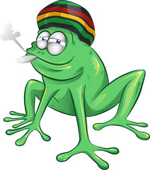 funny jamaican frog cartoon