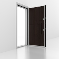 Metal door with wall. 3D rendering. 3D illustration