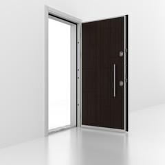 Metal door with wall. 3D rendering. 3D illustration