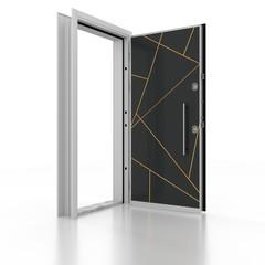 Metal door. 3D rendering. 3D illustration