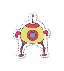 Sticker with cartoon spaceship.