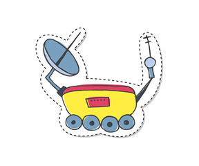 Sticker with moon rover.