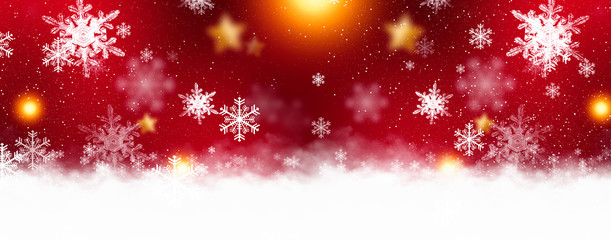 Red sparkling background with stars and snowflakes, balls, magical atmosphere of the Christmas holidays. Red bokeh background with snowflakes. Empty winter background, snowy, celebratory, sparks and s