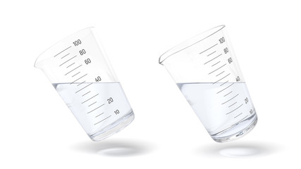 3d rendering of two measuring cups one half filled with transparent liquid isolated on white background
