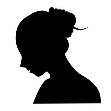 Vector illustration of a young girl in profile, black silhouette on white background