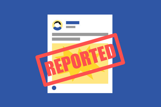 Abusive, inapropriate, hateful post is reported. Blocking, ban, prohibition and removal of objectionable content on social media. Regulation and restriction of post on social networkign site.