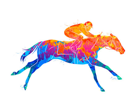 Abstract racing horse with jockey from splash of watercolors. Equestrian sport