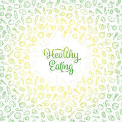 Healthy Eating vector illustration with vegetables icons pattern
