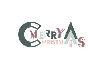 Christmas time. Lettering banner in trendy colors. Text : Merry Christmas