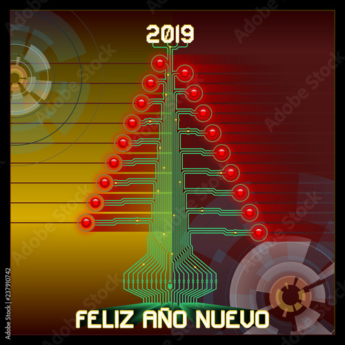 techno happy 2019 technologic christmas tree vector illustration of 2019 new year greetings
