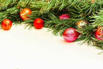 Christmas composition with retro decoration on white wooden background with copy space for your text