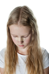 Young girl with curly and blonde hair has green  patch from  injury . Isolated photo on white background. Healing wound on nose.