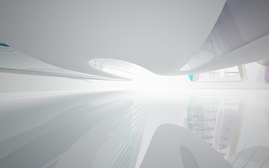 abstract architectural white interior with colored smooth glass gradient sculpture. 3D illustration and rendering