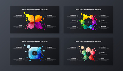 Premium quality marketing analytics presentation vector illustration template. Creative business data visualization design layout set. Amazing bright organic statistics infographic report bundle.