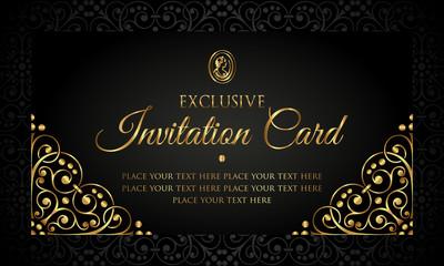 Invitation card luxury design - black and gold vintage style