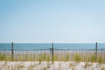 Sand dunes at Rockaway Beach, in Queens, New York