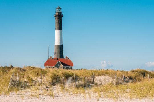 Sand dunes and Fire Island Lighthouse on Long Island, New York