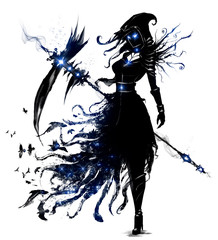 Photo sur Toile Art Studio Female necromancer with a huge scythe