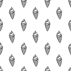 Seamless pattern hand drawn ice cream doodle. Sketch style icon. Decoration element. Isolated on white background. Flat design. Vector illustration