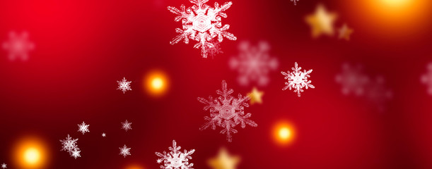 Red sparkling background with stars and snowflakes, the magical atmosphere of the Christmas holidays. Red bokeh background with snowflakes. Empty winter background, snowy, celebratory, sparks and star
